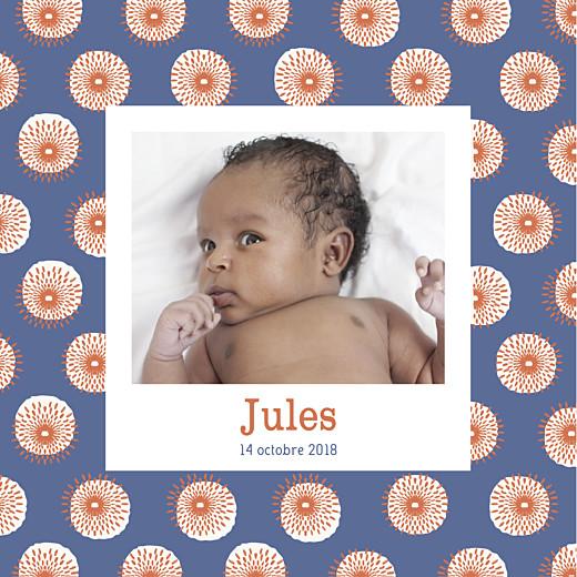 Faire-part de naissance Wax orange & bleu