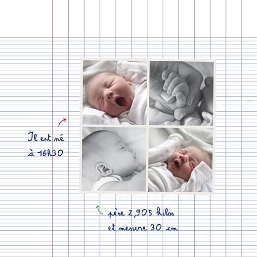Faire-part de naissance Cahier d'écolier 4 pages blanc - Page 3