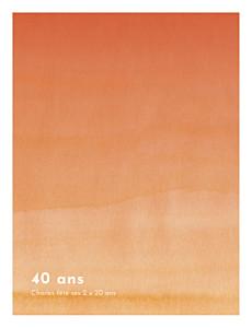 Carte d'invitation anniversaire adulte sans photo aquarelle portrait orange