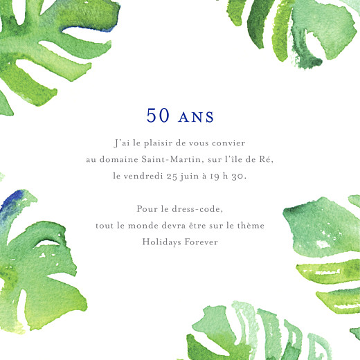 Carte d'invitation anniversaire adulte Acapulco blanc & vert
