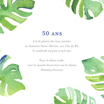 Carte d'invitation anniversaire adulte Acapulco blanc & vert finition