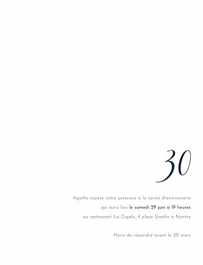 Carte d'invitation anniversaire adulte Étincelles (dorure) bleu marine