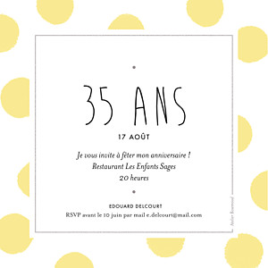 Carte d'invitation anniversaire adulte sans photo big dots jaune