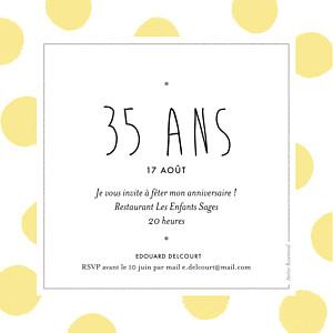 Carte d'invitation anniversaire adulte sans photo big dots jaune
