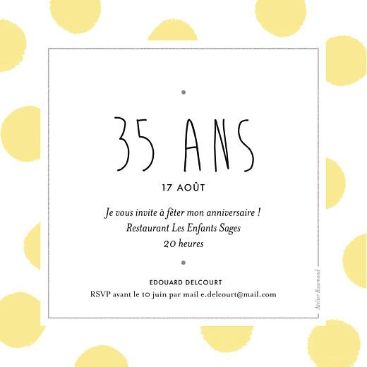 Carte d'invitation anniversaire adulte Big dots jaune