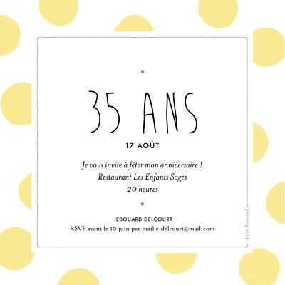 Carte d'invitation anniversaire adulte Big dots jaune finition