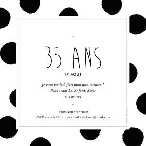 Carte d'invitation anniversaire adulte noir big dots noir
