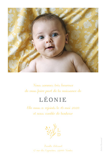 Faire-part de naissance Fable (portrait) jaune - Page 2