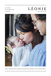 Faire-part de naissance fille grand jour (portrait) blanc