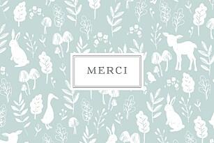 Carte de remerciement fleur petite fable bleu