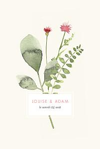 Faire-part de mariage chic fleurs aquarelle herbier rose