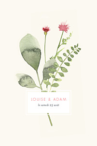 Faire-part de mariage rouge fleurs aquarelle herbier rose
