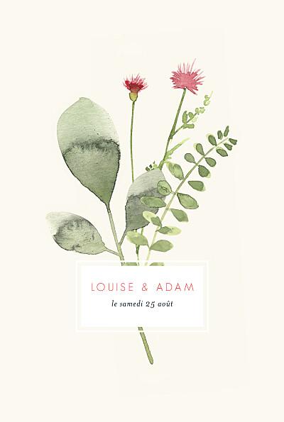 Faire-part de mariage Fleurs aquarelle herbier rose finition