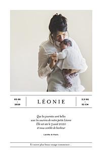 Faire-part de naissance garçon grand événement (portrait) blanc