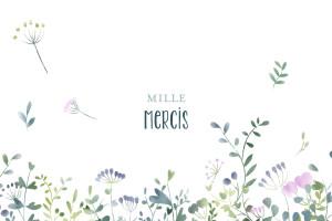 Carte de remerciement Petit bouquet sauvage bleu