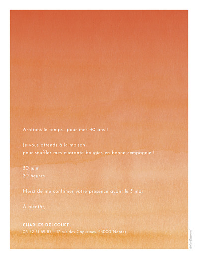 Carte d'invitation anniversaire adulte Aquarelle portrait orange - Page 2