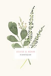 Faire-part de mariage champêtre fleurs aquarelle herbier bleu