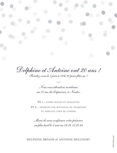 Carte d'invitation anniversaire adulte Polka dots (dorure) encre - Page 2