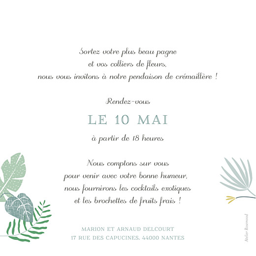 Carte d'invitation anniversaire adulte Jardin tropical vert - Page 2