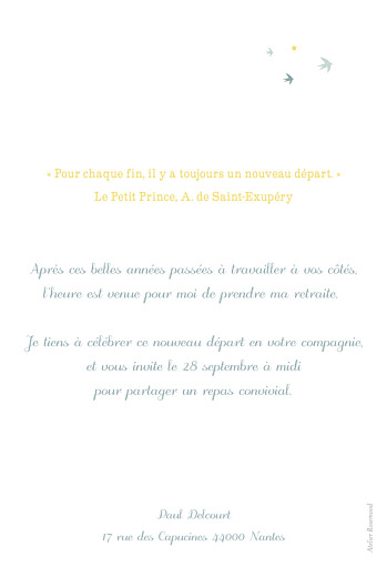 Carte d'invitation anniversaire adulte Sunshine bleu - Page 2
