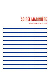 Carte d'invitation anniversaire adulte sans photo marinière bleu & rouge