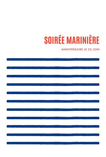 Carte d'invitation anniversaire adulte Marinière bleu & rouge
