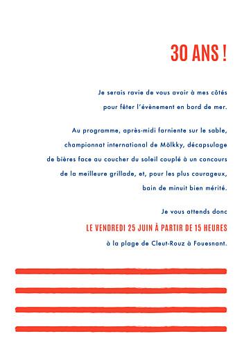 Carte d'invitation anniversaire adulte Marinière bleu & rouge - Page 3