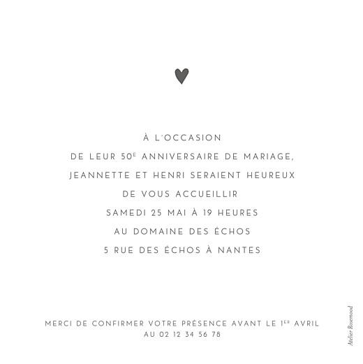 Carte d'invitation anniversaire adulte Élégant cœur (dorure) blanc - Page 2