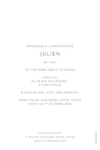 Carte d'invitation anniversaire adulte Élégant photo portrait blanc - Page 2