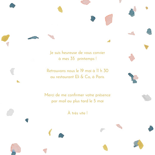 Carte d'invitation anniversaire adulte Granite rose & ocre - Page 3