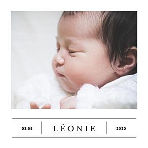 Faire-part de naissance petit frère ou petite soeur grand événement (mini format) blanc