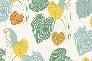 Carte de correspondance moderne jardin exotique beige