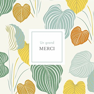 Carte de remerciement beige petit jardin exotique beige