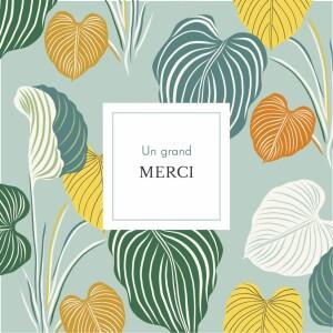 Carte de remerciement Petit jardin exotique vert