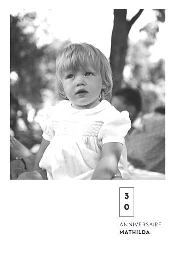 Carte d'invitation anniversaire adulte Laure de sagazan (dorure) blanc