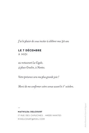 Carte d'invitation anniversaire adulte Laure de sagazan (dorure) blanc - Page 2
