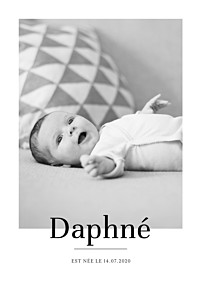 Faire-part de naissance noir et blanc moderne chic portrait blanc