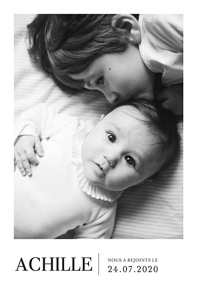 Faire-part de naissance Moderne photo portrait blanc finition