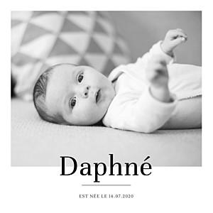 Faire-part de naissance avec photo moderne chic blanc