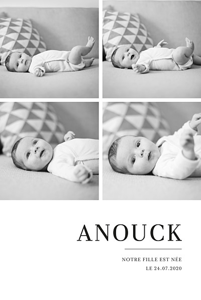 Faire-part de naissance Moderne chic 4 photos blanc finition