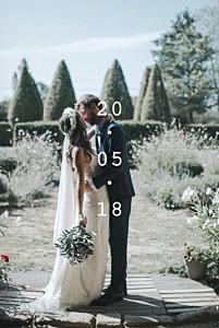 Carte de remerciement mariage avec photo minimal blanc