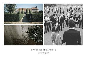 Carte de remerciement mariage infiniment 3 photos blanc