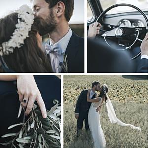 Carte de remerciement mariage tous genres retrospective 4 photos blanc