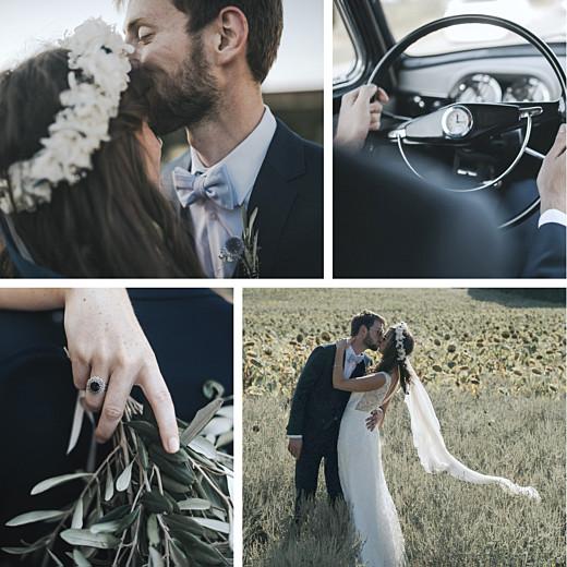 Carte de remerciement mariage Retrospective 4 photos blanc