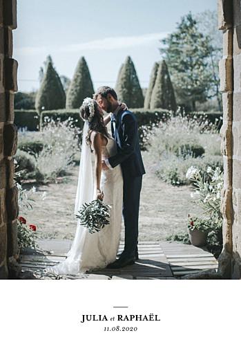 Carte de remerciement mariage Tout simplement portrait blanc