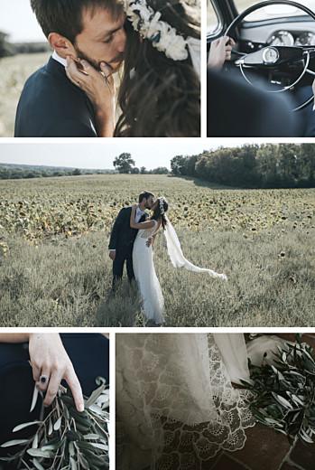 Carte de remerciement mariage Retrospective 5 photos blanc