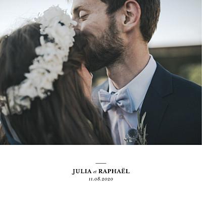 Carte de remerciement mariage Tout simplement carré blanc finition