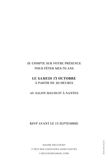 Carte d'invitation anniversaire adulte Élégant photo blanc - Page 2