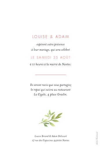 Faire-part de mariage Fleurs aquarelle herbier rose - Page 2