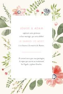 Faire-part de mariage Fleurs aquarelle portrait crème
